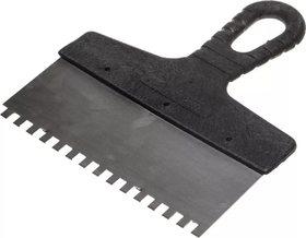 Шпатель Мастер фасадный, зубчатый 250мм 6*6 зуб. Нержавеющая сталь, пластиковая рукоятка 12-7-250